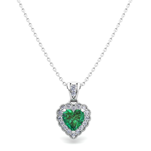 Milgrain diamond and emerald heart necklace in 14k gold pendant order now ships on thursday 104order now ships in 14 business days milgrain diamond and emerald heart necklace aloadofball