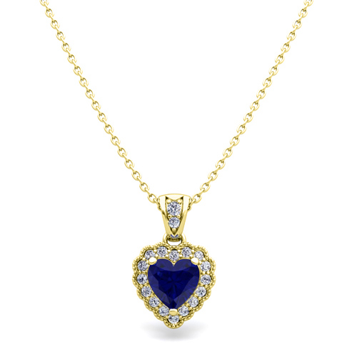 Milgrain diamond and sapphire heart necklace in 14k gold pendant order now ships on monday 625order now ships in 5 business days mozeypictures Images