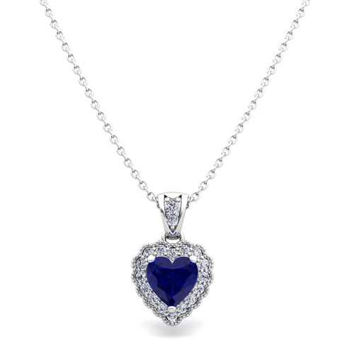 Milgrain diamond and sapphire heart necklace in 18k gold pendant order now ships on monday 618order now ships in 5 business days milgrain diamond and sapphire heart necklace aloadofball Image collections
