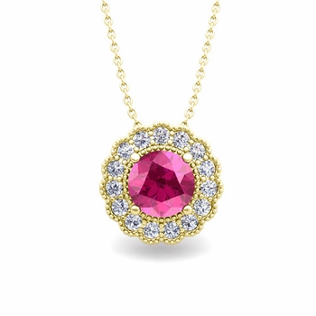 Milgrain Diamond and Pink Sapphire Halo Pendant in 18k Gold Necklace 6mm