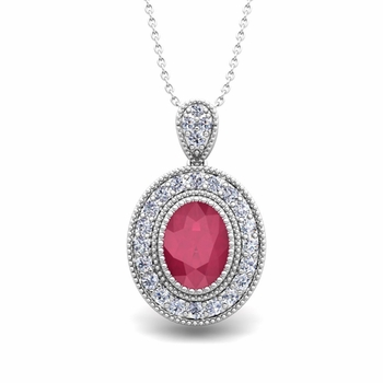 Milgrain Diamond and Ruby Halo Necklace in 14k Gold 8x6mm
