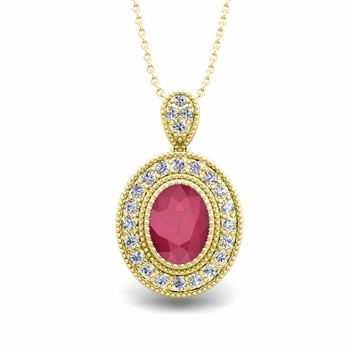 Milgrain Diamond and Ruby Halo Necklace in 18k Gold 8x6mm