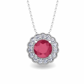 Milgrain Diamond and Ruby Halo Pendant in 14k Gold Necklace 6mm