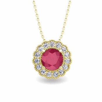 Milgrain Diamond and Ruby Halo Pendant in 18k Gold Necklace 6mm
