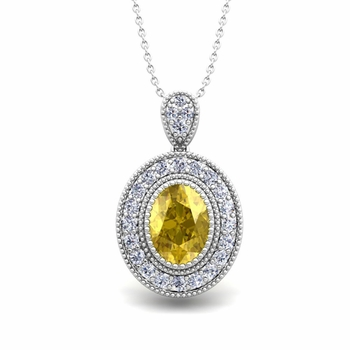 Milgrain Diamond and Yellow Sapphire Halo Necklace in 14k Gold 8x6mm