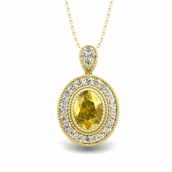 Milgrain Diamond and Yellow Sapphire Halo Necklace in 18k Gold 8x6mm