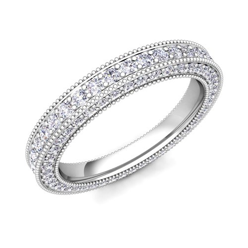 antique shop style bands band pave motif milgrain diamond wedding