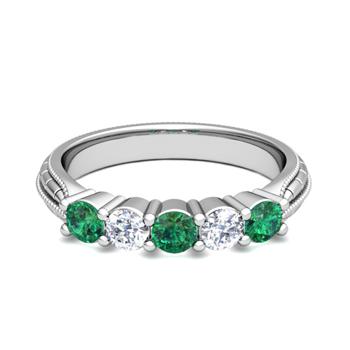 Milgrain Emerald and Diamond Wedding Band in 18k Gold 5 Stone Ring