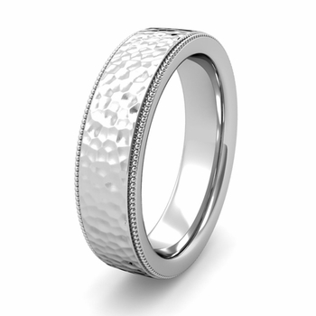 Milgrain Flat Comfort Fit Wedding Band
