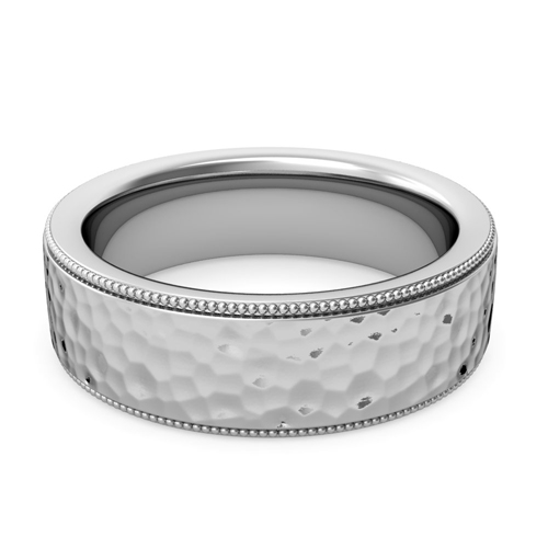Order Now Ships On Friday 5 4order In Business Days Milgrain Flat Wedding Ring 18k Gold Comfort Fit Band Hammered Finish