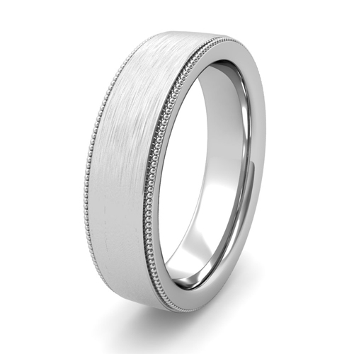 Milgrain Comfort Fit Wedding Ring In Platinum 6mm: Mens Brushed Finish Wedding Ring In Platinum Comfort Fit