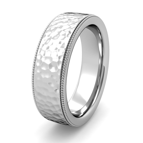 Order Now Ships On Friday 4 27order In 5 Business Days Milgrain Flat Wedding Ring Platinum Comfort Fit Band Hammered Finish