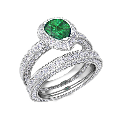 Order Now Ships On Thursday 6 28order In 5 Business Days Milgrain Pear Shaped Emerald Engagement Ring Bridal Set