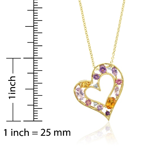 Multi gemstone and diamond heart pendant in milgrain 10k yellow gold order now ships on tuesday 724order now ships in 2 business days multi gemstone and diamond heart pendant in milgrain 10k yellow gold aloadofball Images