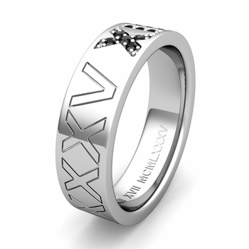 Custom Pave Set Roman Numeral Wedding Band with Diamond or Gemstone