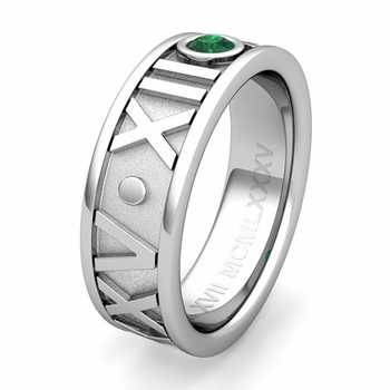 Custom Roman Numeral Wedding Ring with Solitaire Diamond and Gemstone, 7mm