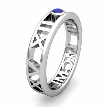 Custom Modern Roman Numeral Wedding Ring with Diamond and Gemstone, 5mm