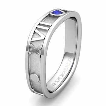 Custom Square Roman Numeral Wedding Band with Diamond or Gemstone, 5mm