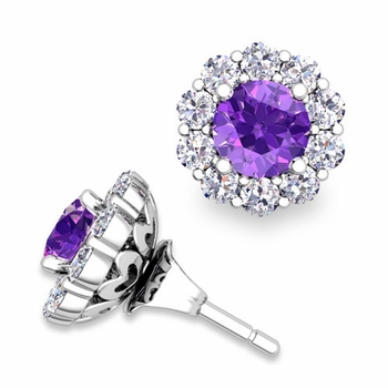 Amethyst Studs and Halo Diamond Earring Jackets in 14k Gold, 5mm
