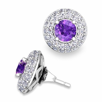 Pave Diamond Earring Jackets and Amethyst Studs in 14k Gold, 5mm