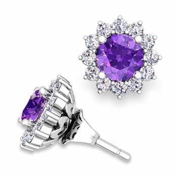 Halo Diamond Earring Jackets and Amethyst Studs in 14k Gold, 5mm
