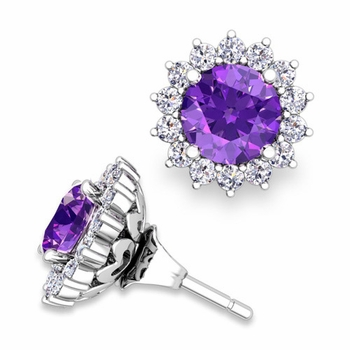 Halo Diamond Earring Jackets and Amethyst Studs in 14k Gold, 6mm