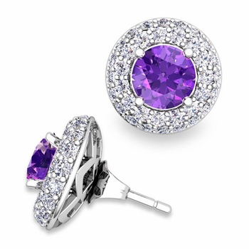 Pave Diamond Earring Jackets and Amethyst Studs in 14k Gold, 6mm