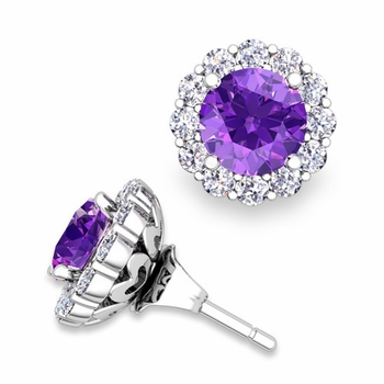 Amethyst Studs and Halo Diamond Earring Jackets in 14k Gold, 6mm