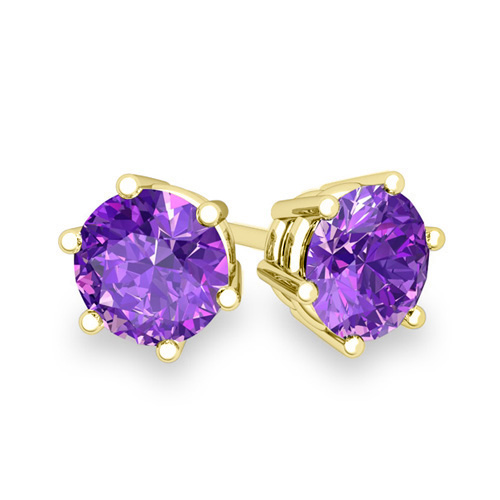 earrings rich gemstone stud faceted product silver sterling round amethyst purple genuine