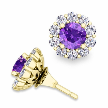 Amethyst Studs and Halo Diamond Earring Jackets in 18k Gold, 5mm