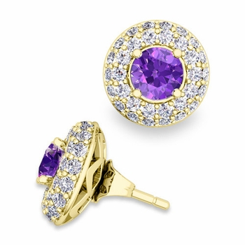 Pave Diamond Earring Jackets and Amethyst Studs in 18k Gold, 5mm