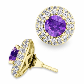 Pave Diamond Earring Jackets and Amethyst Studs in 18k Gold, 6mm