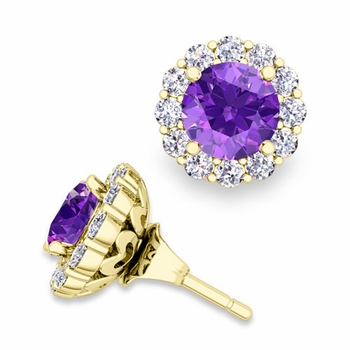 Amethyst Studs and Halo Diamond Earring Jackets in 18k Gold, 6mm