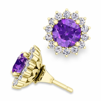 Halo Diamond Earring Jackets and Amethyst Studs in 18k Gold, 6mm