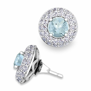 Pave Diamond Earring Jackets and Aquamarine Studs in 14k Gold, 5mm