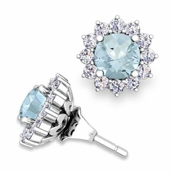 Halo Diamond Earring Jackets and Aquamarine Studs in 14k Gold, 5mm