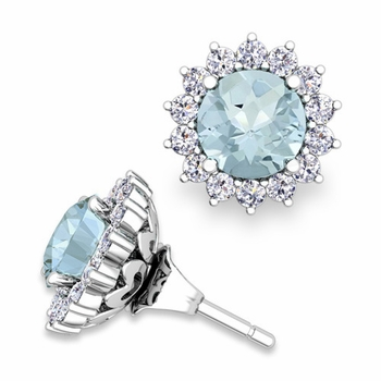 Halo Diamond Earring Jackets and Aquamarine Studs in 14k Gold, 6mm