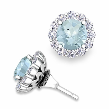 Aquamarine Studs and Halo Diamond Earring Jackets in 14k Gold, 6mm