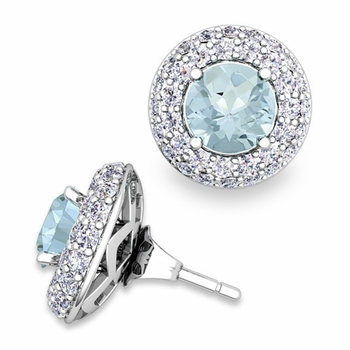 Pave Diamond Earring Jackets and Aquamarine Studs in 14k Gold, 6mm