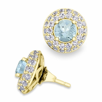 Pave Diamond Earring Jackets and Aquamarine Studs in 18k Gold, 5mm