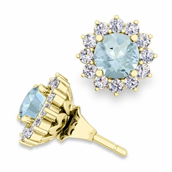 Halo Diamond Earring Jackets and Aquamarine Studs in 18k Gold, 5mm