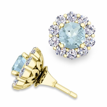 Aquamarine Studs and Halo Diamond Earring Jackets in 18k Gold, 5mm