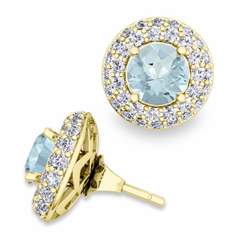 Pave Diamond Earring Jackets and Aquamarine Studs in 18k Gold, 6mm