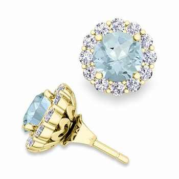 Aquamarine Studs and Halo Diamond Earring Jackets in 18k Gold, 6mm