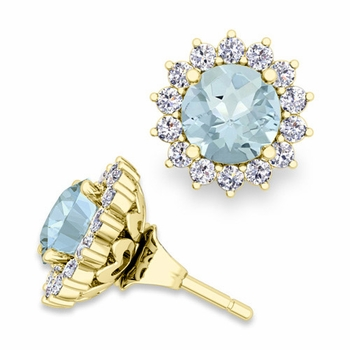 Halo Diamond Earring Jackets and Aquamarine Studs in 18k Gold, 6mm