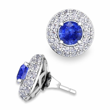 Pave Diamond Earring Jackets and Ceylon Sapphire Studs in 14k Gold, 5mm