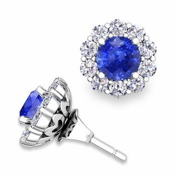 Ceylon Sapphire Studs and Halo Diamond Earring Jackets in 14k Gold, 5mm