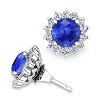Halo Diamond Earring Jackets and Ceylon Sapphire Studs in 14k Gold, 6mm