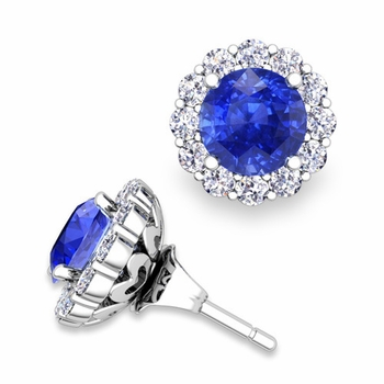 Ceylon Sapphire Studs and Halo Diamond Earring Jackets in 14k Gold, 6mm