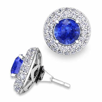 Pave Diamond Earring Jackets and Ceylon Sapphire Studs in 14k Gold, 6mm